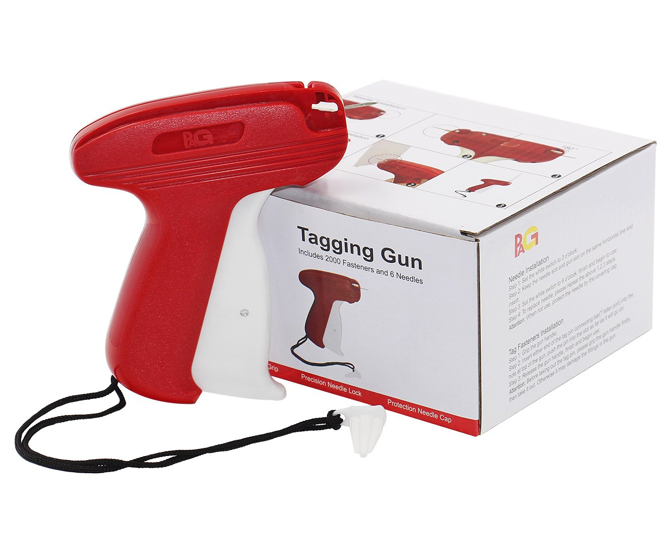 PAG New Upgrade Fine Tagging Gun Price Tag Attacher Gun for Clothing with 6 Needls and 2000 2 Barbs Fasteners Red