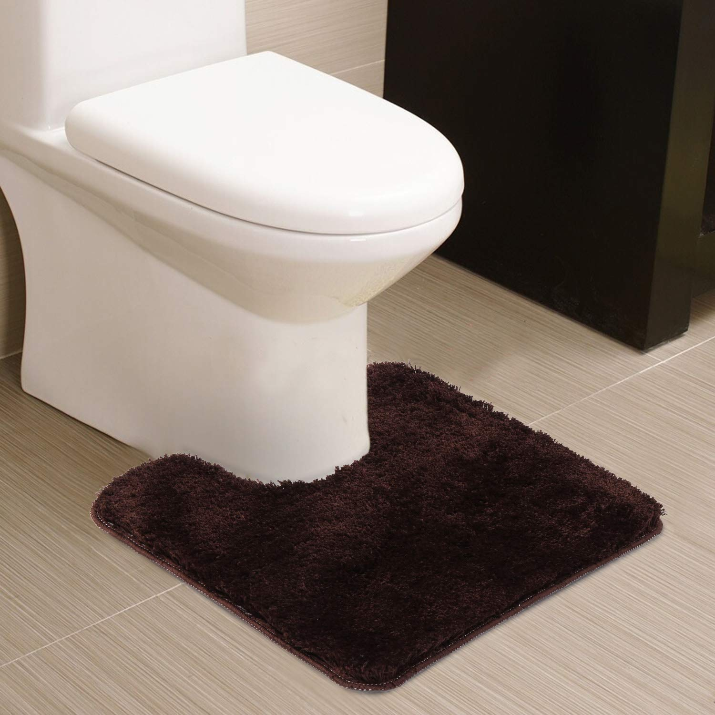HAOCOO Shaggy Contour Bath Rug 20x24U inch, Navy Blue Bathroom U-Shaped Toilet Floor Rug Mats Carpet Non-Slip Water Absorbent Machine-Washable Luxury Soft Thick Bath Rug