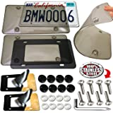 Aootf License Plate Covers Clear Shields - 2 Pack Unbreakable Tinted Smoked Black Bubble License Plate Shields Protector and