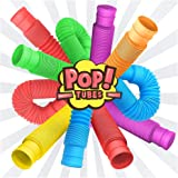 Fidget Pop Tube Toys for Kids and Adults 6 Pack, Pipe Sensory Tools for Stress and Anxiety Relief, Cool Bendable Multi-Color Stimming Toys Great as Gift, Party Favors, and Prizes for Fidgeters