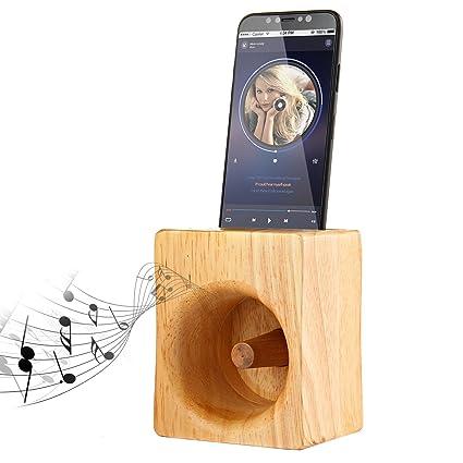 Aolvo Soporte de madera para teléfono móvil con amplificador de sonido, multifuncional, de madera