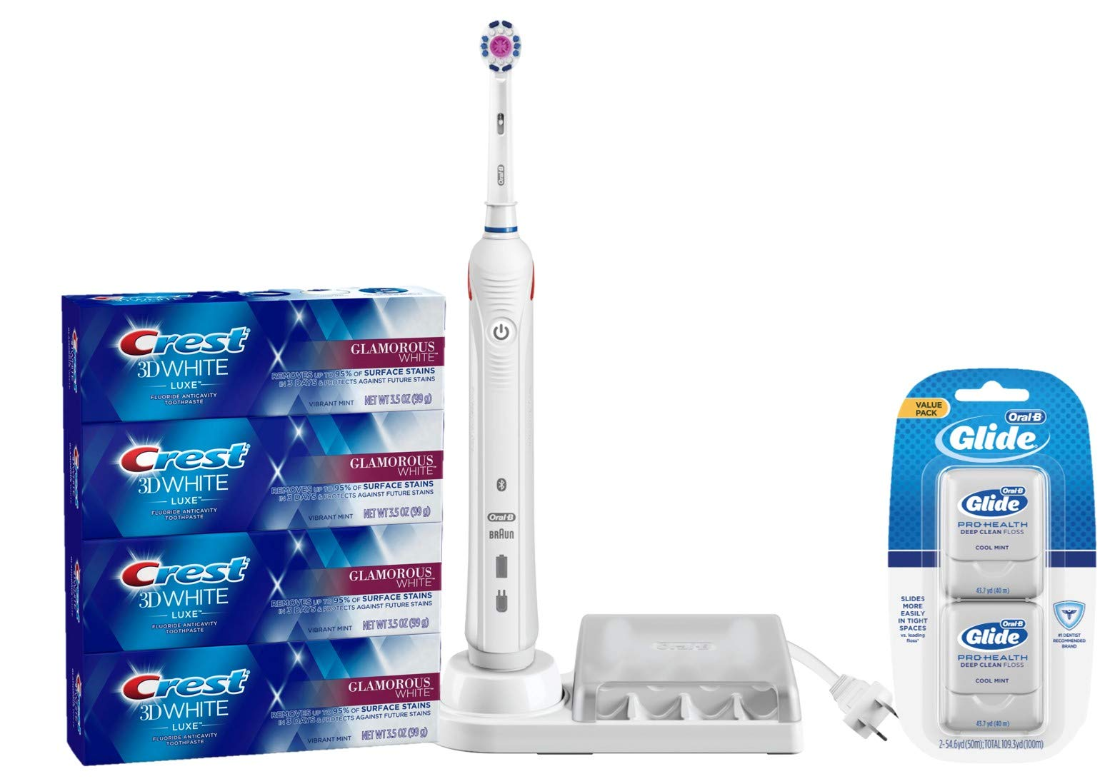 Oral-B Pro3000  Electric Toothbrush with Crest Toothpaste Four Pack and Glide Floss Twin Pack Bundle