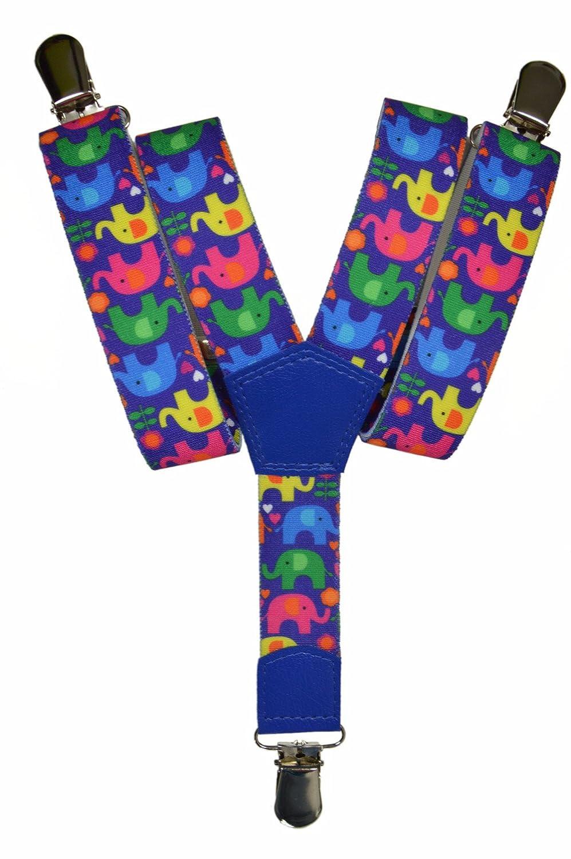 Bretelles entièrement réglable pour les enfants 1-5 ans - Éléphant motif KIDSBRACESJeleph-white