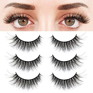 ec21554e7df BEPHOLAN 3 Pairs False Eyelashes Synthetic Fiber Material| 3D Mink Lashes|  Natural Round Look
