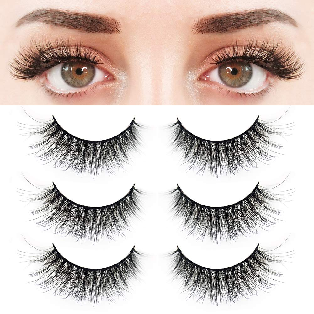 4115c92baaf Amazon.com: BEPHOLAN 3 Pairs False Eyelashes Synthetic Fiber Material| 3D  Mink Lashes| Natural Round Look| Reusable| 100% Handmade & Cruelty-Free|  XMZ24: ...