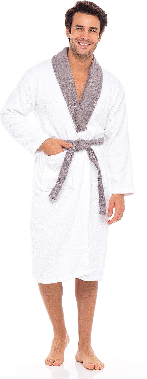 SKYLINEWEARS Men's 100% Terry Cotton Shawl Collar Bathrobe Spa Collection Robe