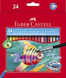 Faber-Castell 114425 - Estuche de 24 ecolápices de color acuarelable, 1 pincel