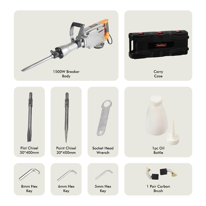 Vonhaus 1500w Electric Breaker Demolition Hammer Drill For Pointet Chisel Pahat Bosch Sds Max 400 Mm 10 Piece Concrete Diy Tools