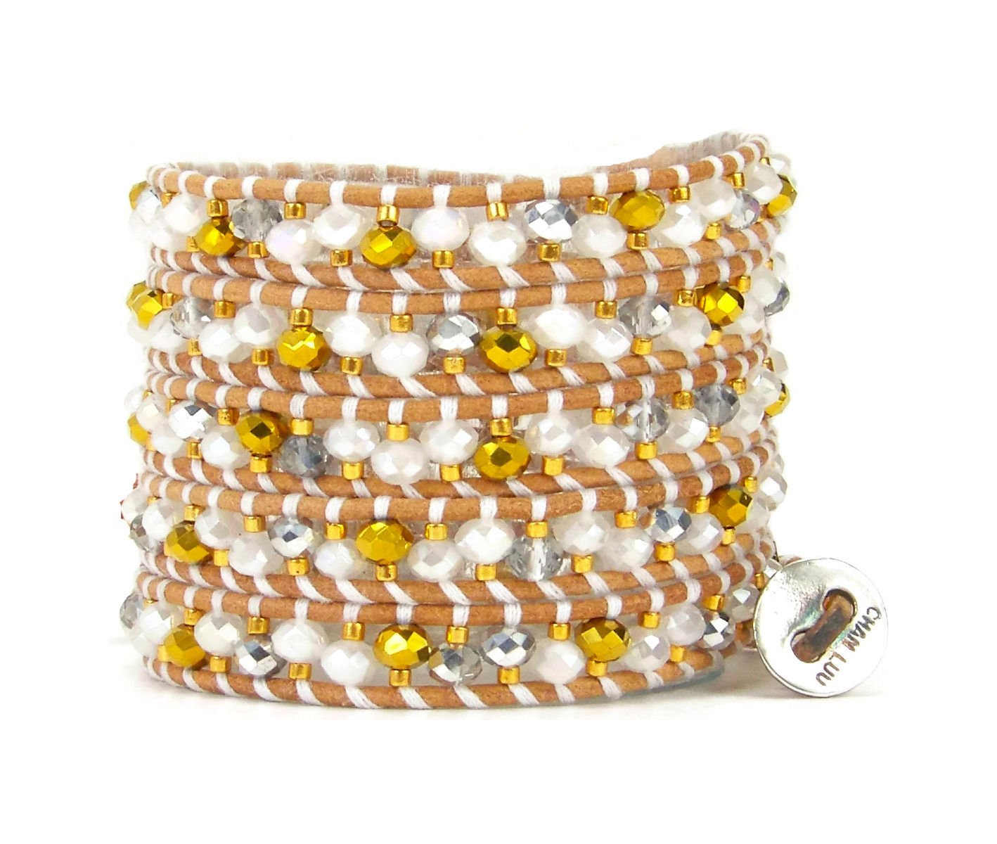 Chan Luu White Mix & Bead Multi Wrap Bracelet on Beige Leather by Chan Luu