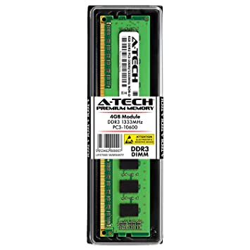 A-Tech 4GB DDR3 1333MHz PC3-10600 (240-pin DIMM) Desktop Computer Memory  RAM Module