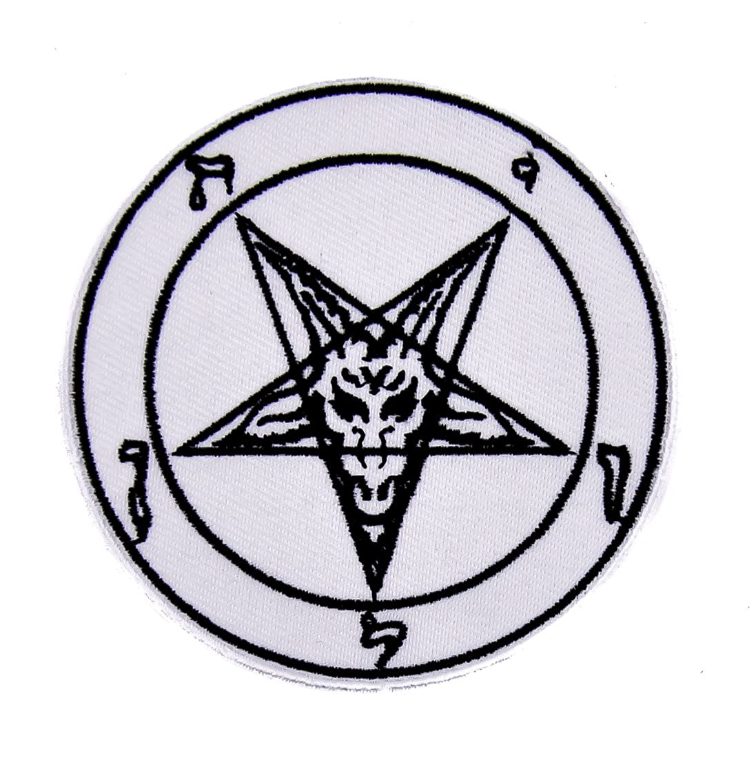 White Sabbatic Baphomet Goat Head Patch Iron on Applique Occult Clothing Satanic