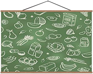 Hoveniacis Seamless Healthy Food Food,Wall Art Poster Vegetable for Decoration 12x8in