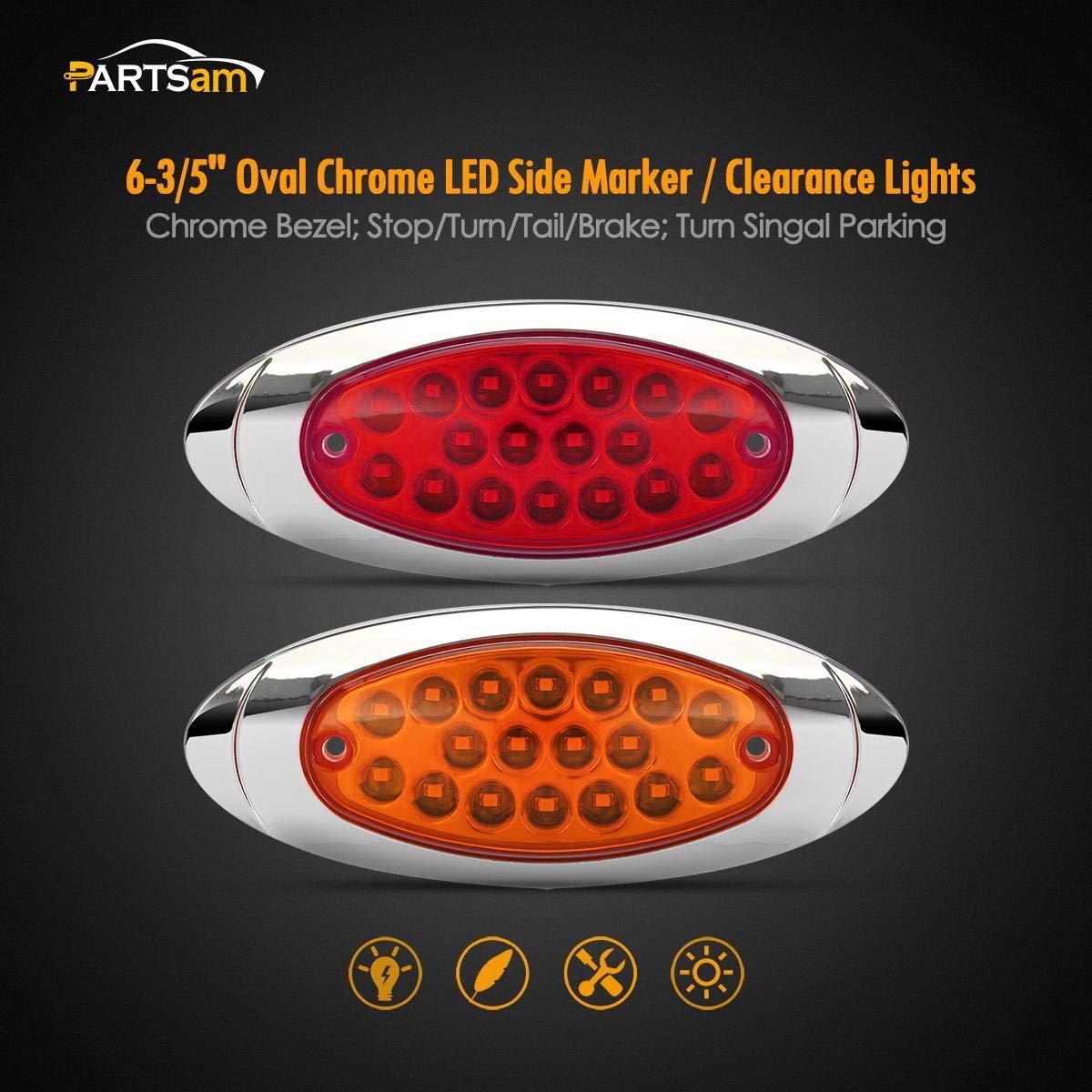Oval led Trailer Marker Lights Partsam 4 Pcs 4-1//3 Red//Amber Led Oval Side Marker Lights with Chrome Bezel Trailer Parking and Turn Signal Lights Aux Stop Turn Tail Brake Lights
