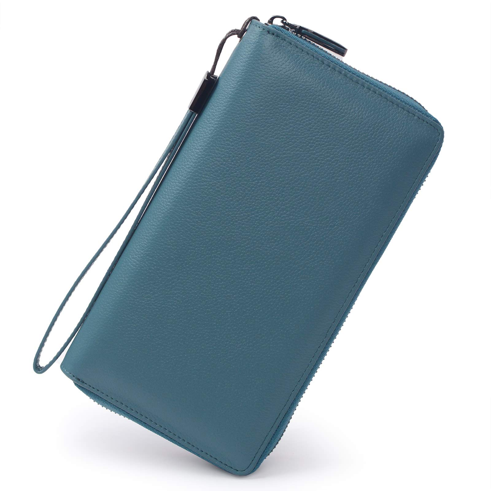 Women RFID Blocking Wallet Leather Zip Around Phone Clutch Large Travel Purse Wristlet (Lake Blue)