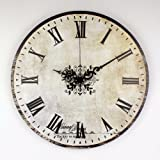 Absolutely silent vintage large decorative wall clock with waterproof clock face and roman number