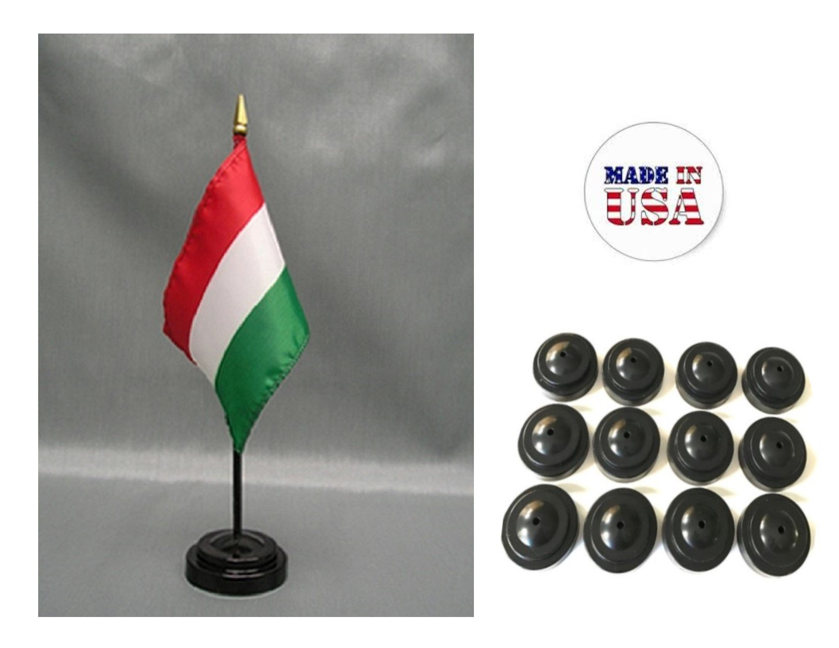 Made in the USA!! Box of 12 Hungary 4''x6'' Miniature Desk & Table Flags Includes 12 Flag Stands & 12 Hungarian Small Mini Stick Flags
