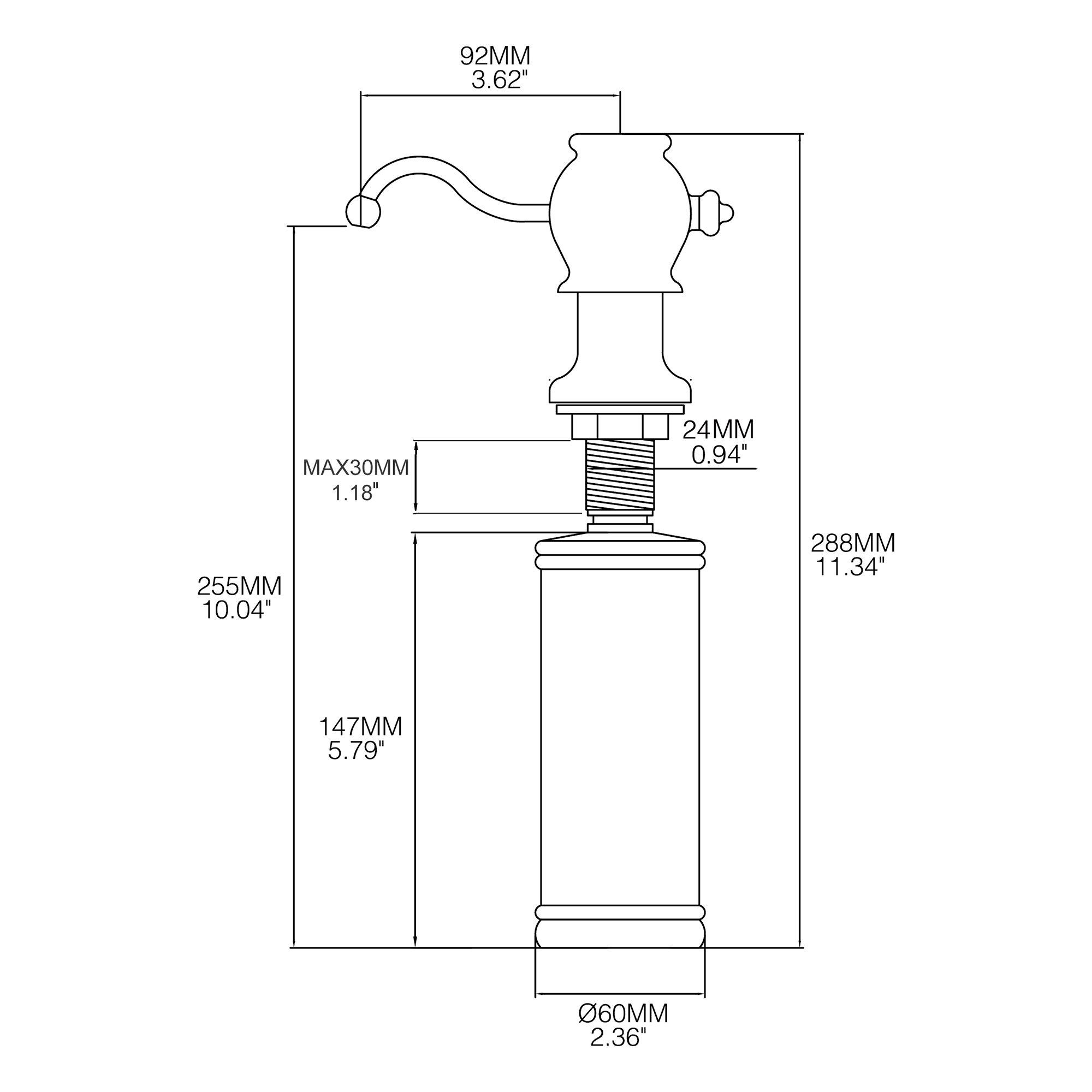 SUCASA Sink Soap Dispenser Luxury Chrome Heavy Duty Sturdy Brass Pump Head 320 ML Liquid Lotion Bottle Hand Dish Soap Dispenser for Kitchen and Bathroom by SUCASA (Image #3)