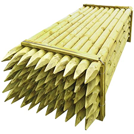 Festnight Set of 50 Pointed Fence Posts Fencing Stakes Round Timber