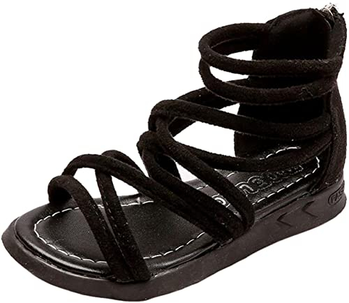 dd0d5da449a PPXID Toddler Little Girl s Princess Flat Rome Gladiator Strappy Beach  Sandals-Black 6 US Size