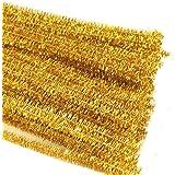 Rimobul Glitter Creative Arts Chenille Stem Class Pack,6 mm x 12 Inch, Pack of 100 (Gold)