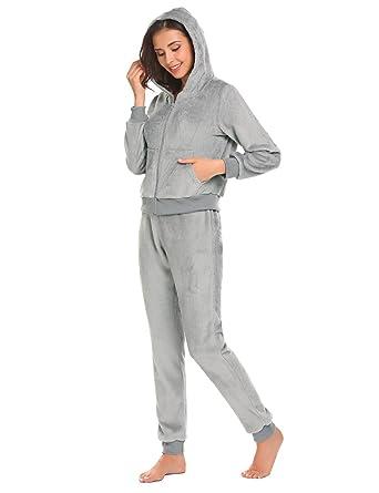 e2638d5338f3 etuoji Women Nightwear Fleece Hooded Long Sleeve 2 Piece Pajamas Set ...