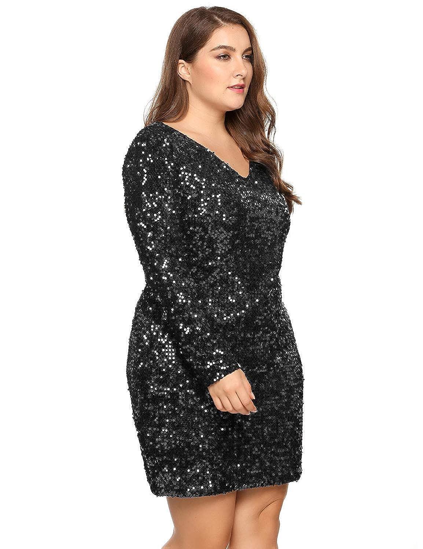Womens Plus Size V-Neck Sequin Dress Long Sleeve Midi for ...