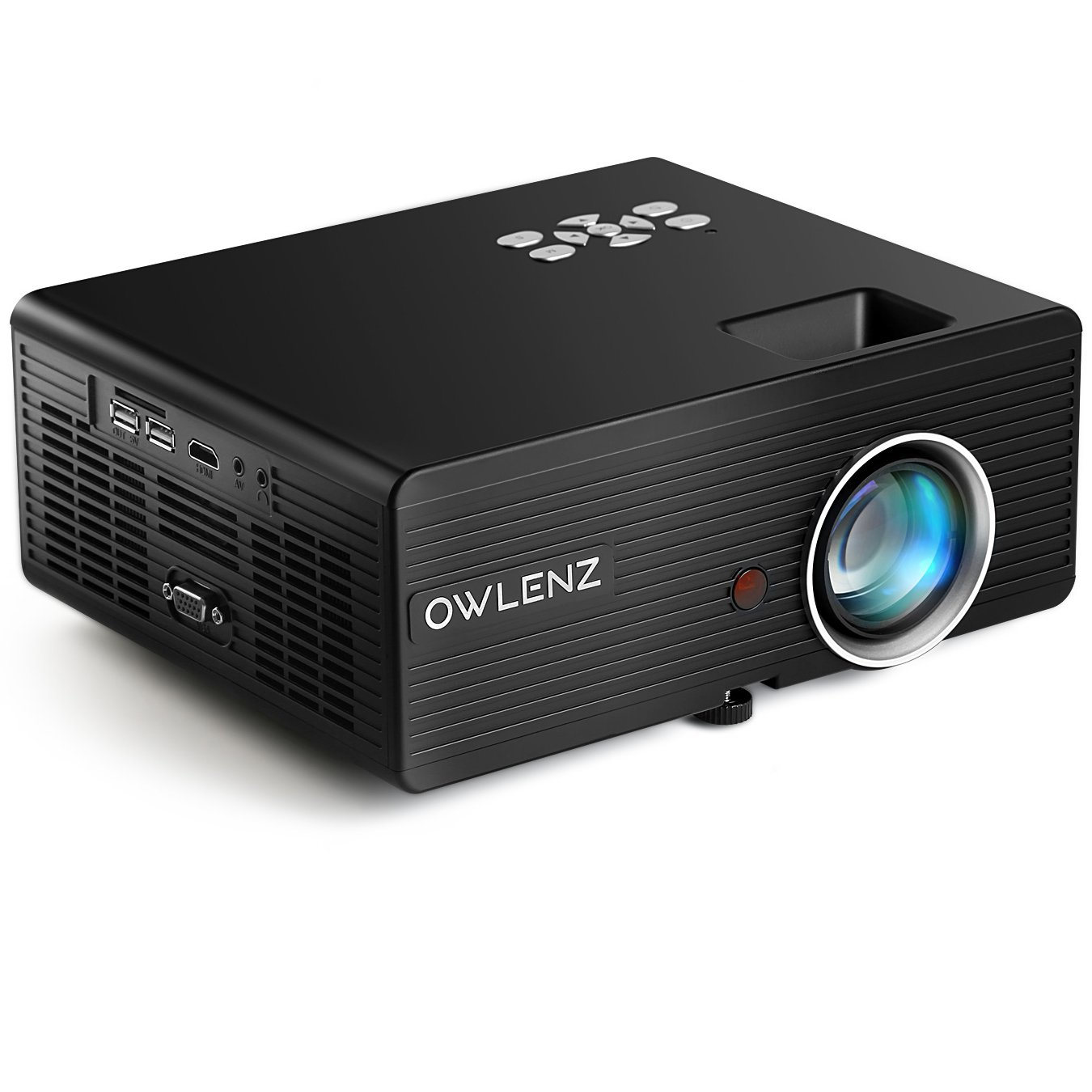 Owlenz 2300 Lumens LCD Mini Projector, Multimedia Home Theater Video Projector Support 1080P HDMI USB SD Card VGA AV Home Cinema TV Laptop Game iPhone