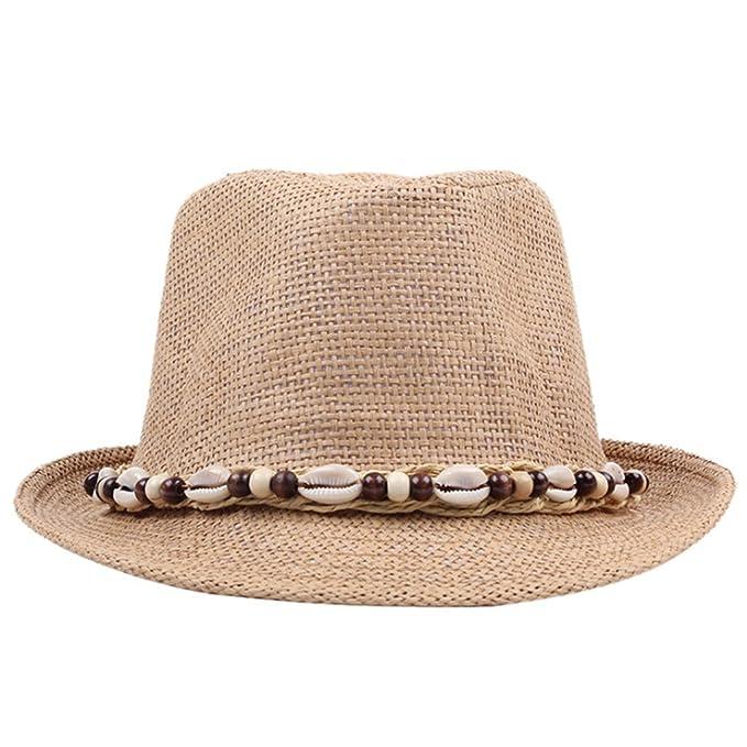 AOBRITON Sombrero de Paja de Verano Jazz Playa Hombre Mujer Clásica Panamá  Derby Bowler Fedora Capucha 11156927fd3
