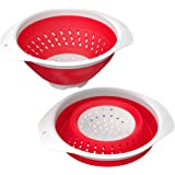 Vremi 5 Quart Collapsible Colander 5 Bpa Free Silicone Food Strainer with Handles-Heavy Duty Foldable and Heat Resistant Kitchen Drainer Steam Basket for Pasta and Veggies-Dishwasher Safe, Red