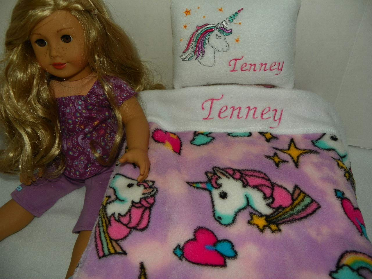 Unicorn Print Doll Bedding (Blanket and Pillow): Personalized for American Girl Doll Tenney