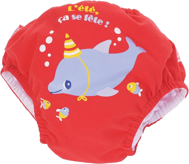 Piwapee Costume Pannolino con sistema Anti Fuga Rosso Delfino 8-11 KG