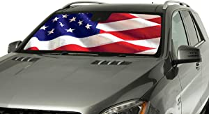 Intro-Tech MR-06-US Silver Custom Fit American Flag Windshield Sunshade for Select Mercury Cougar Models