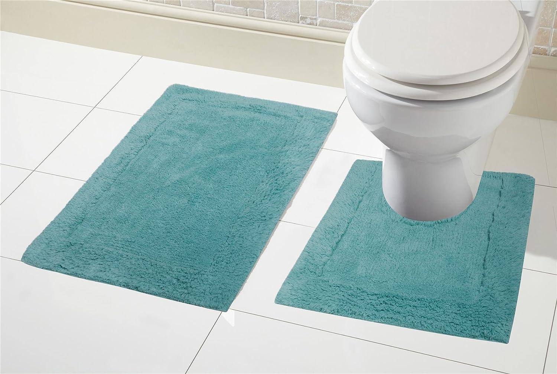 Olivia Rocco 2 Piece Bath Mat Set Soft 100/% Cotton Easy Care Pedestal /& Mat Set Non Slip Reverse Natural