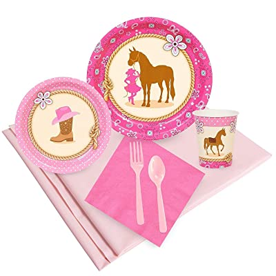 BirthdayExpress Western Cowgirl Pink Childrens Party Supplies Pack - 24 Guests: Toys & Games