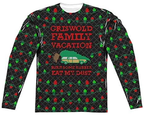 ae designs christmas vacation griswold family ugly sweater front back black - Griswold Ugly Christmas Sweater