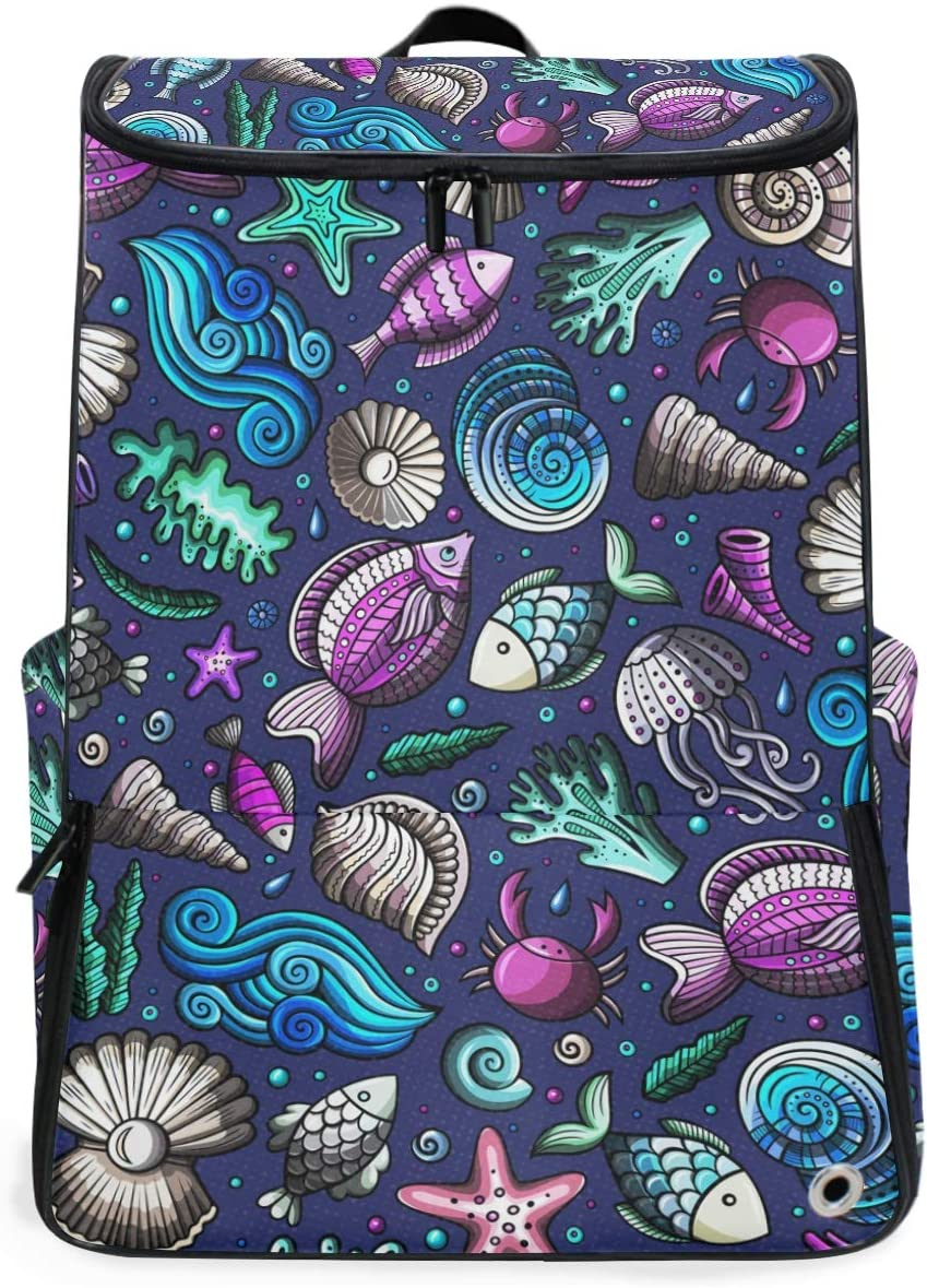 DEZIRO Laptop Backpack Colorful Shells and Fishes Pattern Travel Computer Bag for Women /& Men College School Bookbag Business Backpack ?