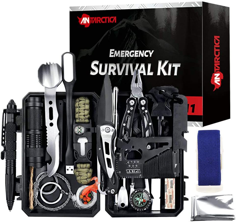 ANTARCTICA Emergency Survival Gear Kits 60 in 1, Outdoor Survival Tool with Emergency Bracelet Whistle Flashlight Pliers Pen Wire Saw for Camping, Hiking, Climbing,Car