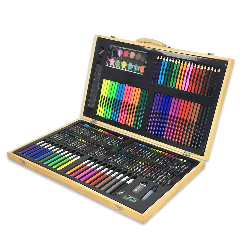 JIANGXIUQIN Artist Art Drawing Set, Artwork Such As 180 Paintings, Paintings in Compact Carrying Cases, A Great Gift for Beginners and Serious Artists. Gifts for Children and Children.