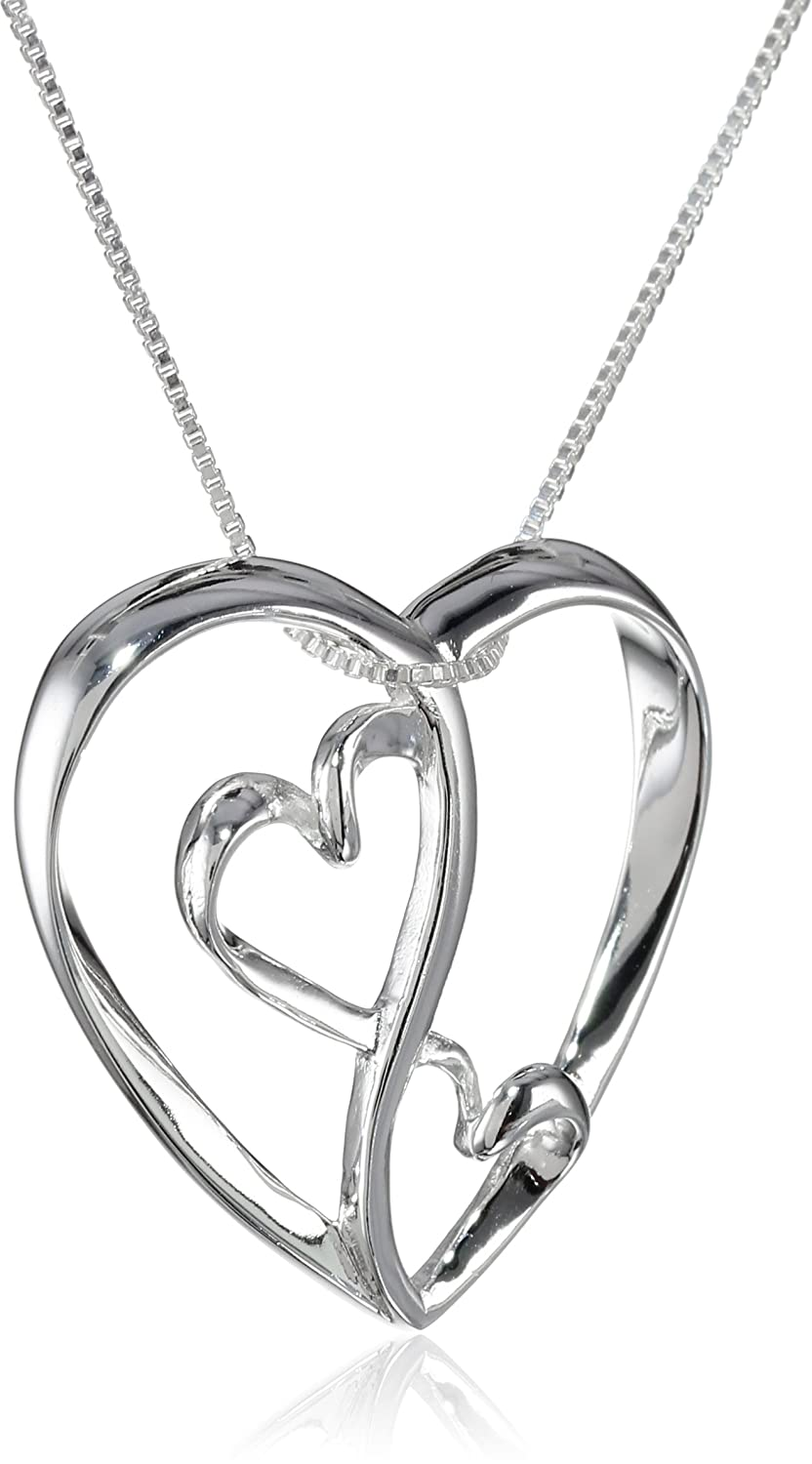 amazon com sterling silver two open hearts inside larger heart