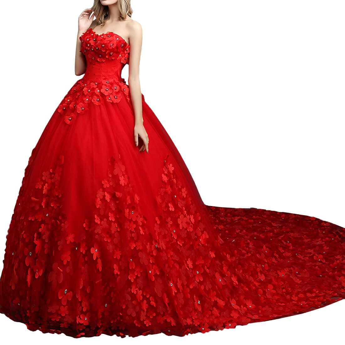 Partiss Women's Floor Length/Train Strapless Wedding Dress(Chinese XL Red 1.5Meter Train)