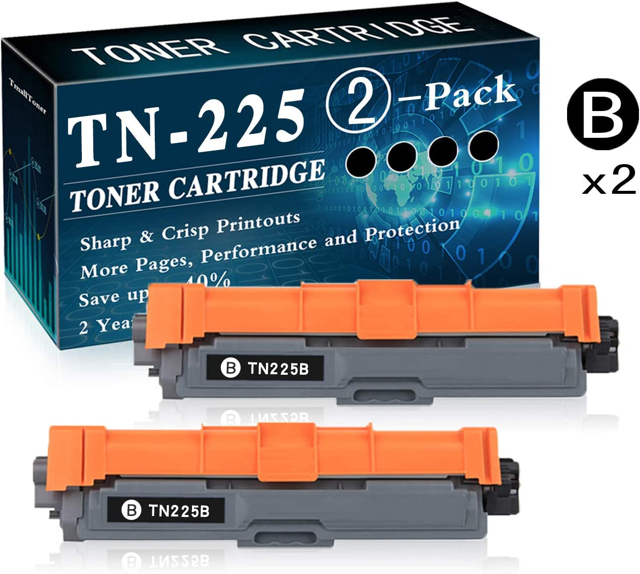 2-Pack Black TN-225 Toner Cartridge Replacement for Brother Laserjet HL-3140CW HL-3150CDN MFC-9130CW MFC-9330CDW DCP-9015CDW DCP-9020CDN Printer Printer,by TmallToner