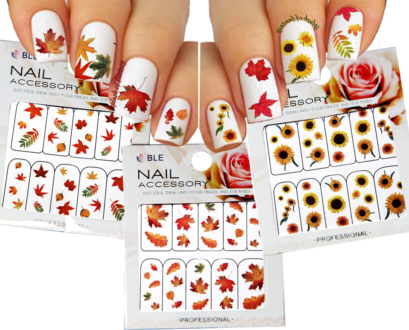Amazon.com : Autumn Leaves Nail Art Water Slide Tattoo Sticker ...
