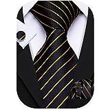 Barry.Wang Stripe Men Ties Set Classic WOVEN Necktie with Handkerchief Cufflinks Formal