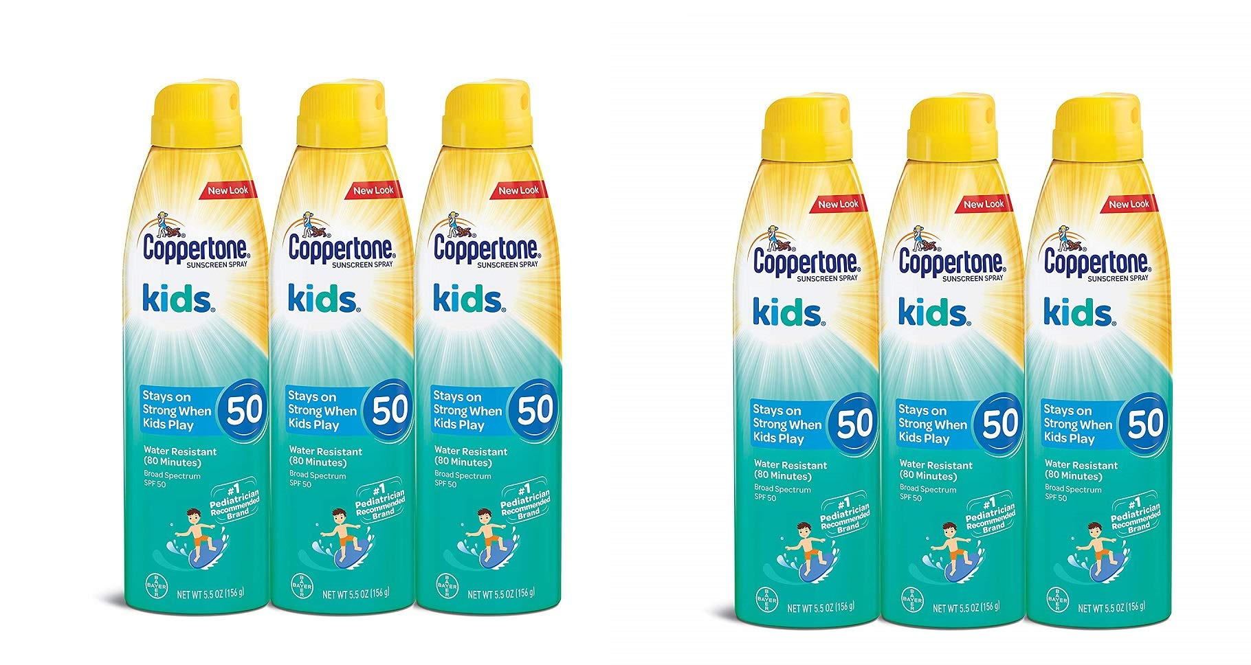 Coppertone KIDS Continuous Sunscreen SPF 50 Multipack, 5.5 Ounce, Pack of 3