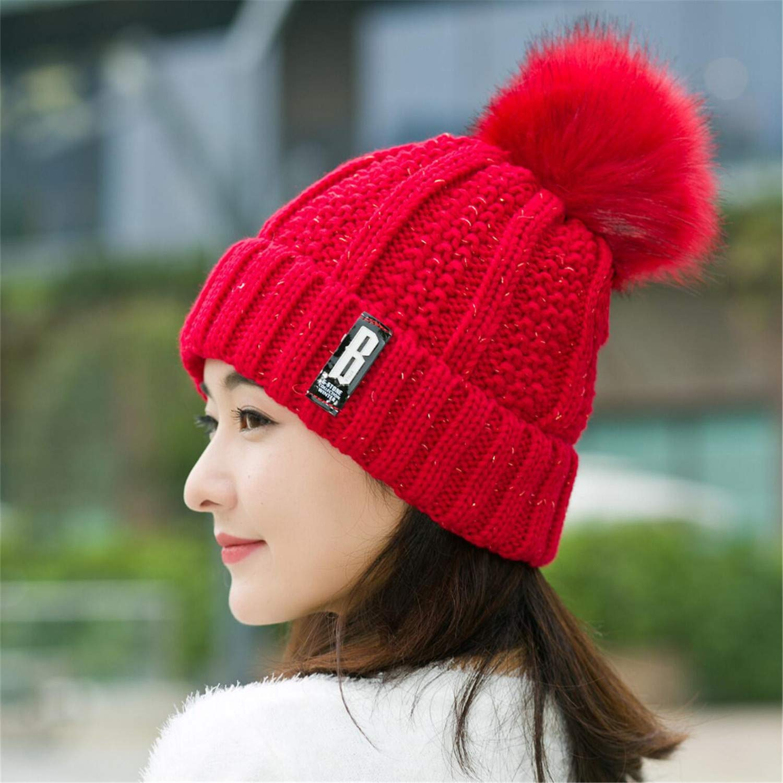 B Letters Knitted Hat Women Brand Winter Women Ball Ski Rabbit Fur Hat Pompoms Hats Knitted