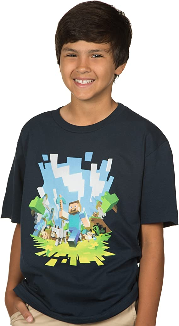 Details about  /Boy/'s MINECRAFT DUNGEONS Light Gray T Shirt~MOJANG~Official Product JINX NWT