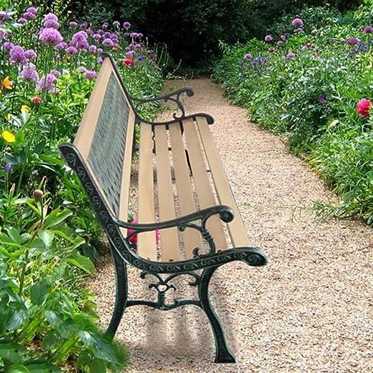 tidyard Banco de Jardín con Diseño Nostálgico,Respaldo con Decorativo de PVC,Apto para Uso en el Exterior Durante Todo el Año,122x51x73cm: Amazon.es: Hogar
