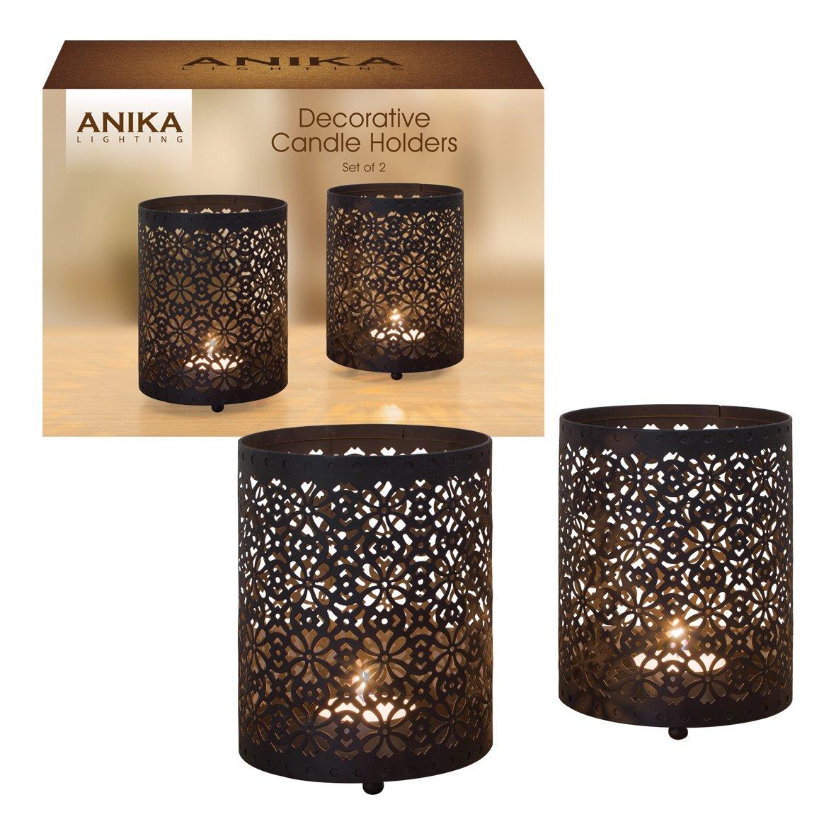 Anika pack of 2 decorative black metal geometric pattern candle tealight holders amazon co uk lighting