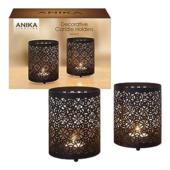 Amazon.de: Anika 2 Stück Dekorative Schwarz Metall Geometrische ...