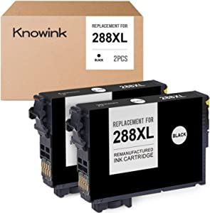 KNOWINK Remanufactured Ink Cartridge Replacement for Epson 288XL 288 XL for Expression Home XP-434 XP-430 XP-330 XP-340 XP-446 XP-440 (2 Black)